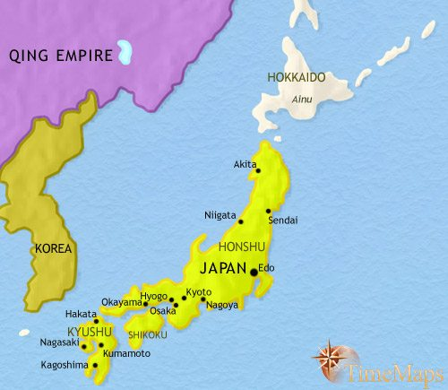 Map of Japan at 1837CE