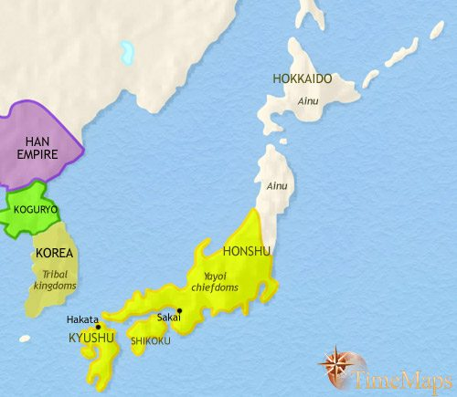 Map of Japan at 200CE