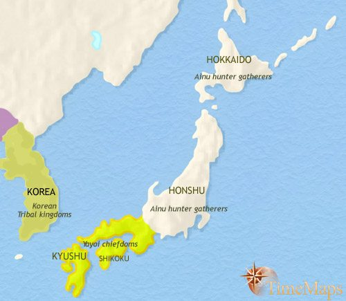 Map of Japan at 200BCE