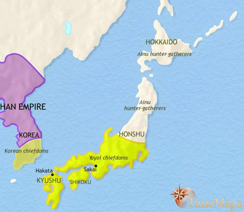Map of Japan at 30BCE