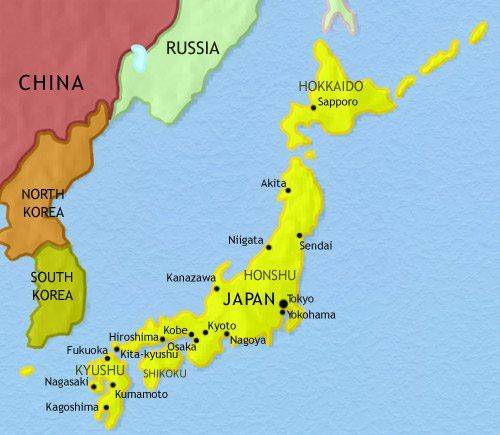 Map of Japan at 2005CE