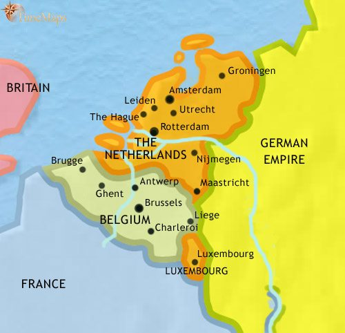 Map of The Low Countries at 1871CE
