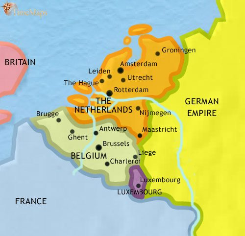 Map of The Low Countries at 1914CE