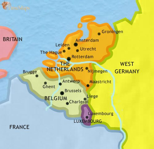 Map of The Low Countries at 1960CE