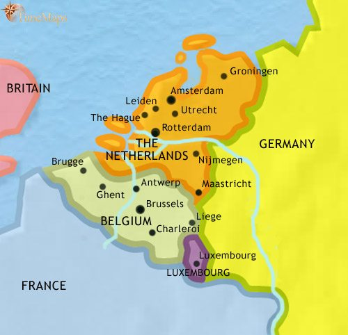 Map Of Germany Luxembourg Belgium.Map Of The Low Countries At 1960ad Timemaps