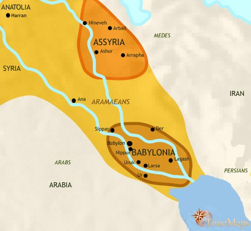 Map of Iraq at 1000BCE