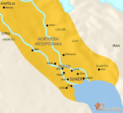 Map of Iraq at 2500BCE