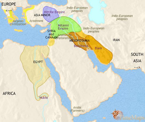 Middle east history 1500 bce map of middle east at 1500bce gumiabroncs Gallery