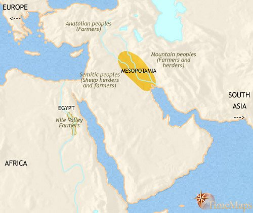 Map of Middle East at 3500BCE
