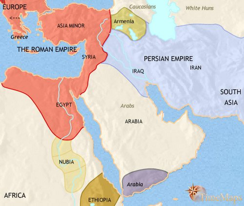 Map of Middle East at 500CE