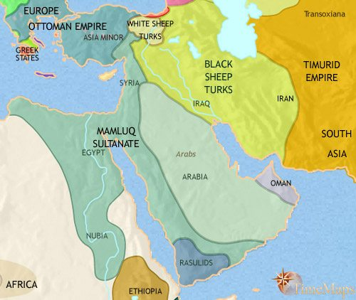 Map of Middle East at 1453CE