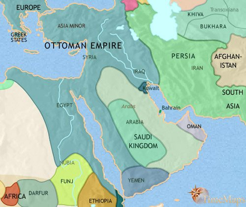 Map of Middle East at 1789CE