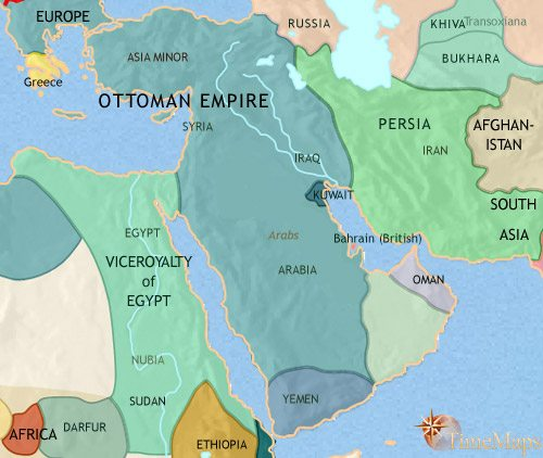 Map of Middle East at 1871CE