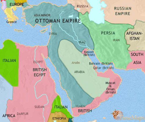 Map of Middle East at 1914CE