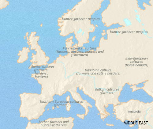 Map of Europe at 3500BCE