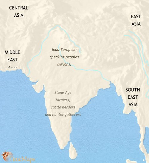 Map of India and South Asia at 1000BCE