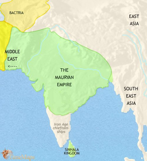 Map of India and South Asia at 200BCE
