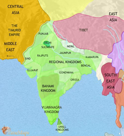 Map of India and South Asia at 1453CE