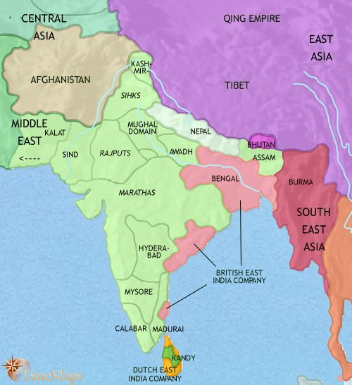 map of india and south asia at 1789ce