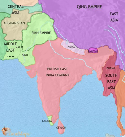 Map of India and South Asia at 1837CE
