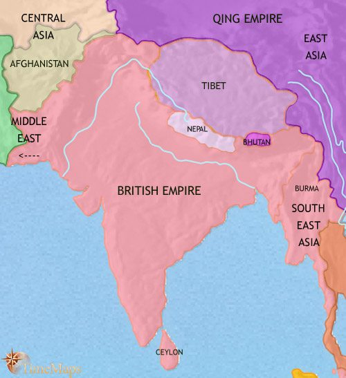 Map of India and South Asia at 1871CE