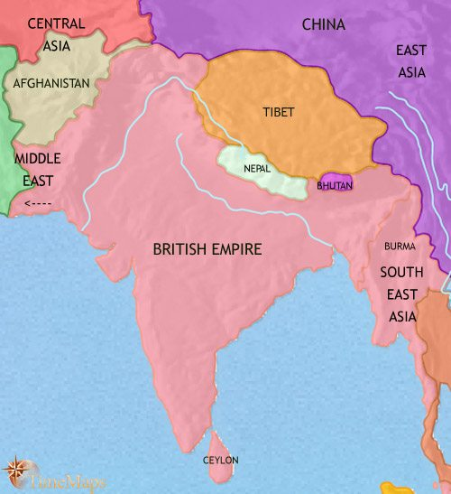 Map of India and South Asia at 1914CE