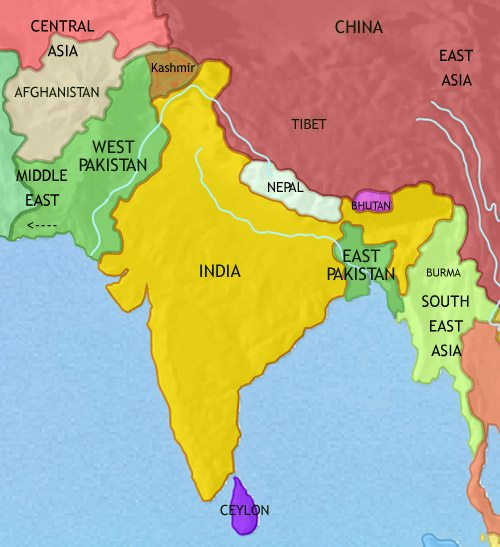 Map of India and South Asia at 1960CE