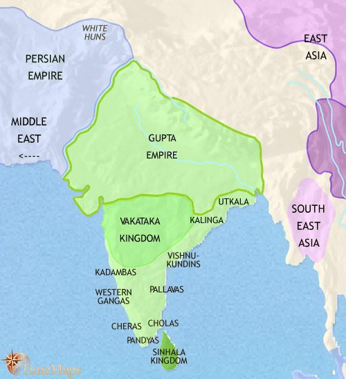 Map of India and South Asia at 500CE