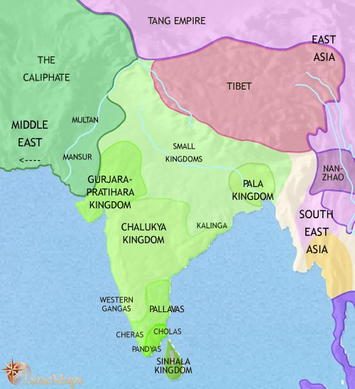 Map of India and South Asia at 750CE
