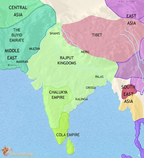 Map of India and South Asia at 979CE
