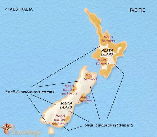 Map of New Zealand at 1837CE