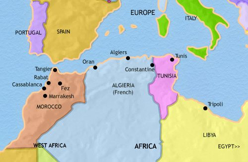 Map of North Africa at 1960CE