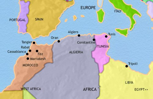 Map of North Africa at 2005CE
