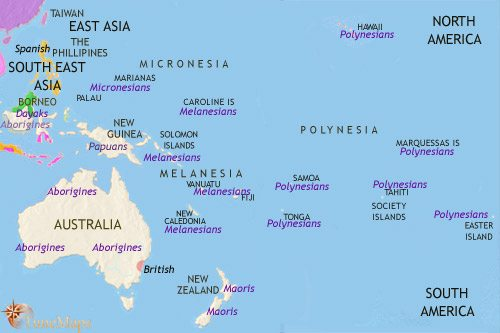 Map of Oceania at 1789CE