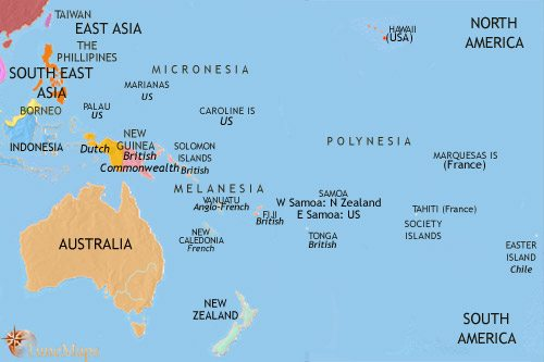 Map of Oceania at 1960CE