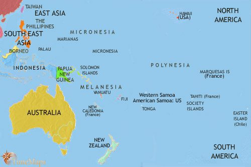 Map of Oceania at 2005CE