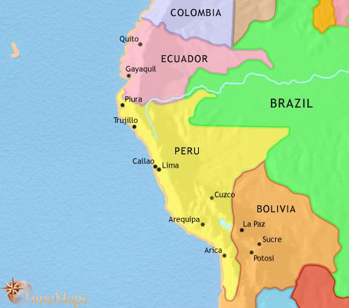 Map of Peru, Ecuador and Bolivia at 1871CE