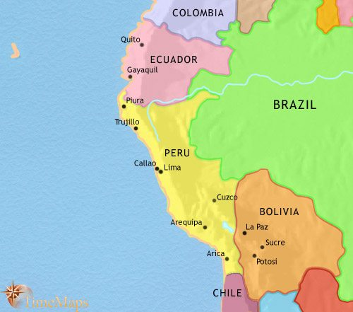 Map of Peru, Ecuador and Bolivia at 1914CE