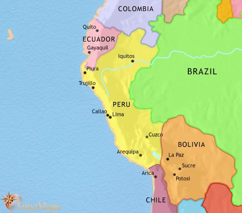 Map of Peru, Ecuador and Bolivia at 1960CE