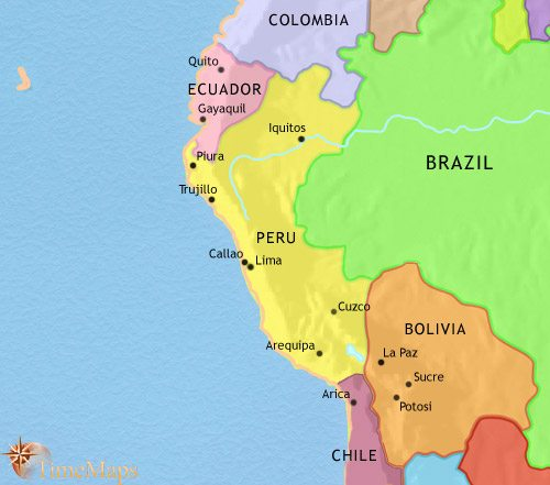 Map of Peru, Ecuador and Bolivia at 2005CE