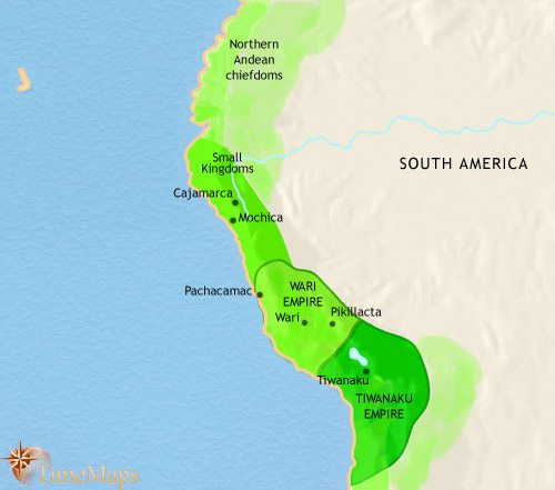Map of Peru, Ecuador and Bolivia at 750CE