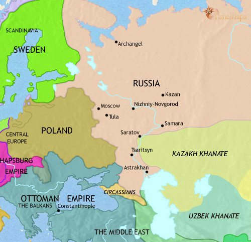 Map of Russia at 1648CE