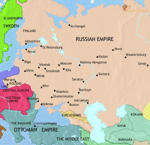 Map of Russia at 1837AD TimeMaps
