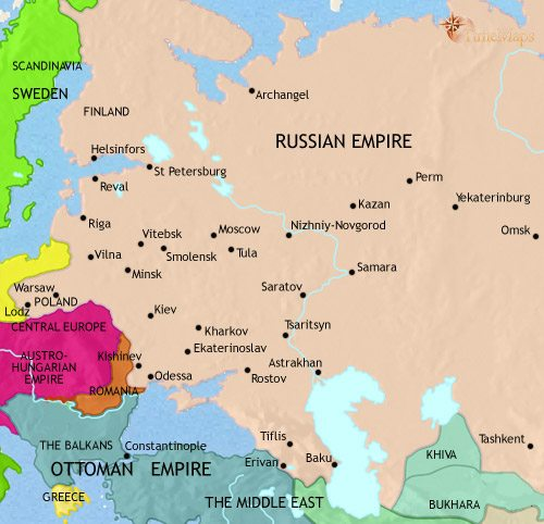 Map of Russia at 1871CE