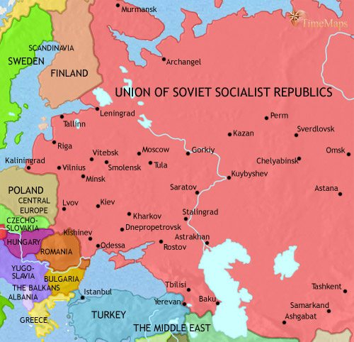 Map of Russia at 1960CE
