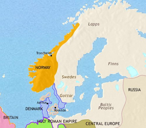 Map of Scandinavia at 979CE
