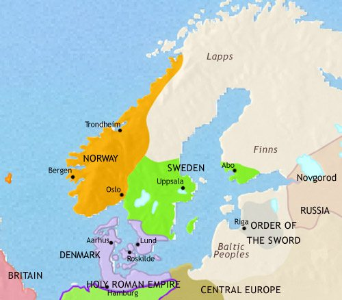 Map of Scandinavia at 1215CE