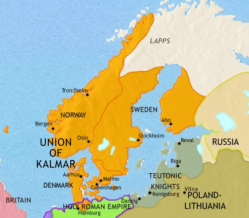 Map of Scandinavia at 1453CE