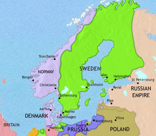 Map of Scandinavia at 1789CE
