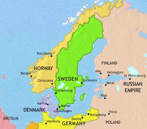 Map of Scandinavia at 1914CE